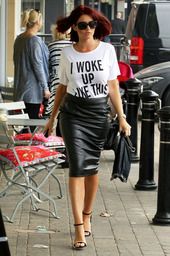 Amy Childs in Leather Skirt -12