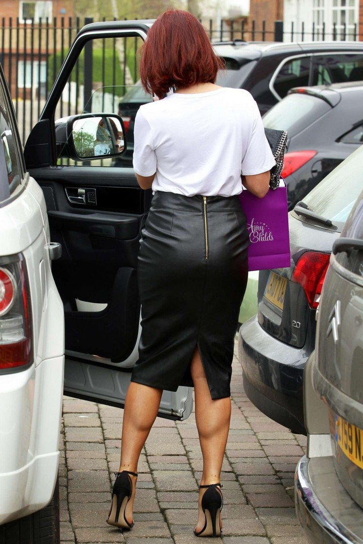Amy Childs in Leather Skirt -13