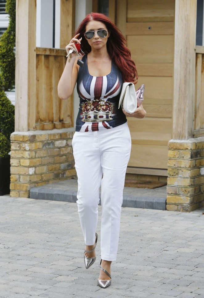 Amy Childs in White Pants Out in London