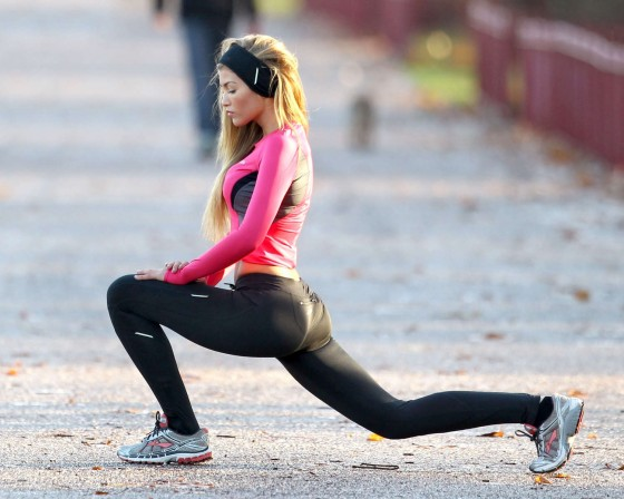 Amy Willerton in Tights Working out in London
