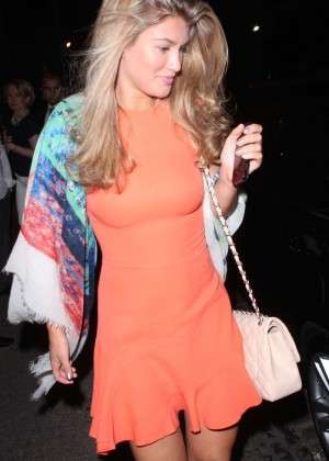 Amy Willerton - in orange dress leaving the Chiltern Firehouse in London