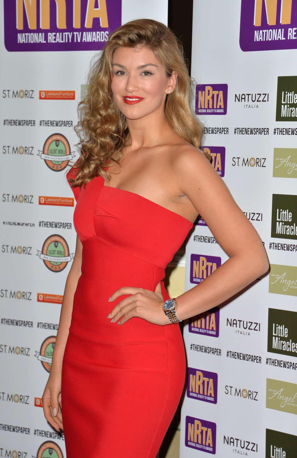 Amy Willerton in Red Dress at 2014 National Reality TV Awards in London