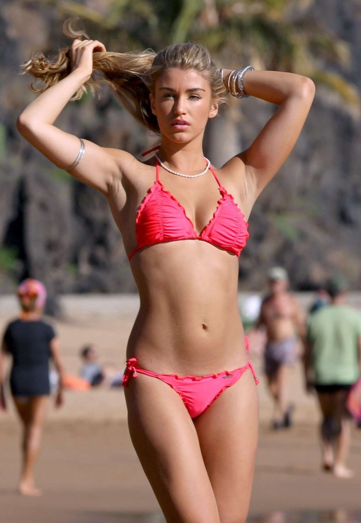 Amy Willerton – Pink Bikini Candids in Spain