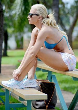 Ana Braga in Bikini Doing Yoga -09