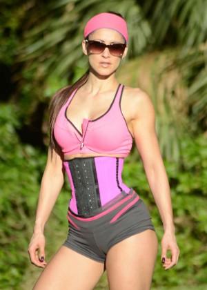Anais Zanotti - Doing Yoga at The Park in Miami