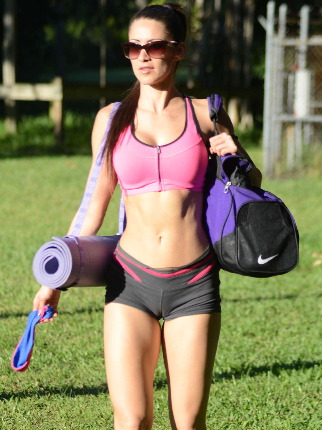 Anais Zanotti anais zanotti in shorts doing yoga -11 | gotceleb