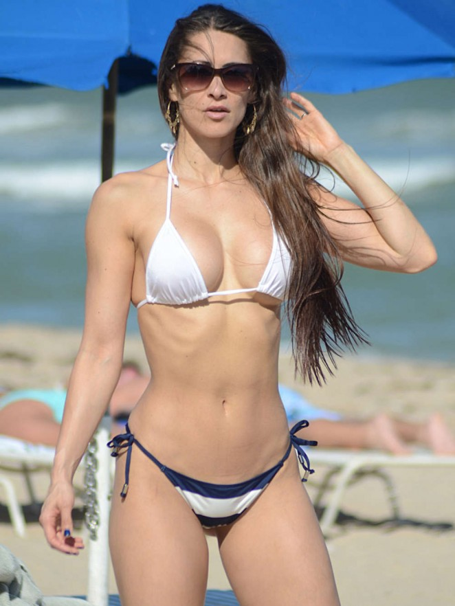 Anais Zanotti in Blue & White Bikini on Miami Beach