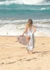 Anastasia Ashley Bikini Photos: on beach in white bikini-14