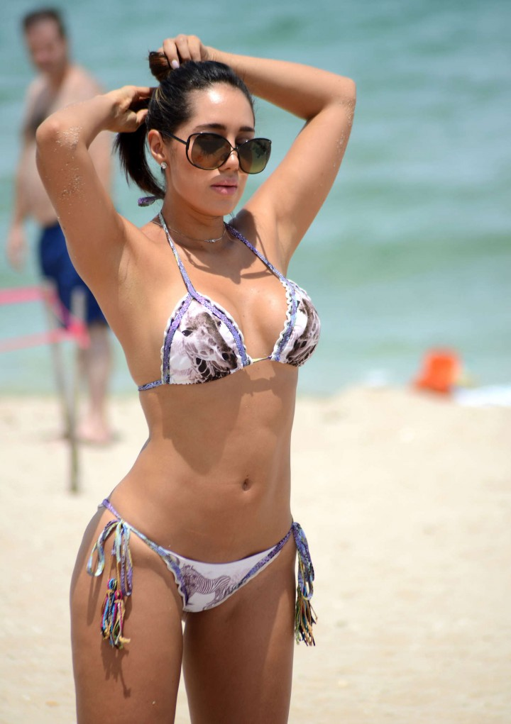 Andrea Calle Show Hot Bikini Body on Miami Beach