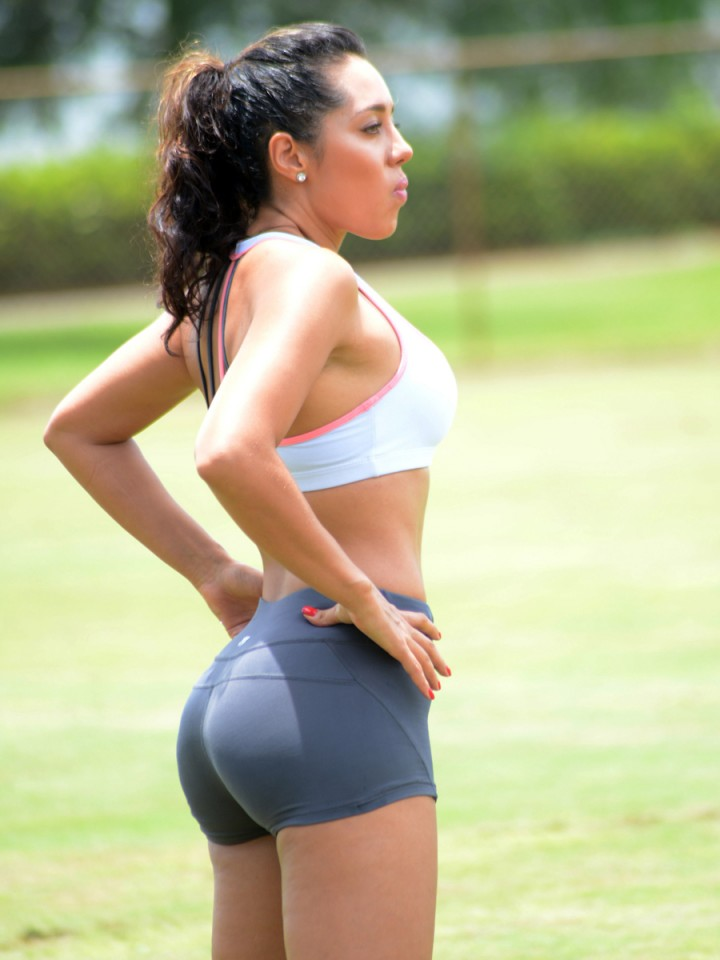 Andrea Calle in Shorts Work Out at a Park in Miami