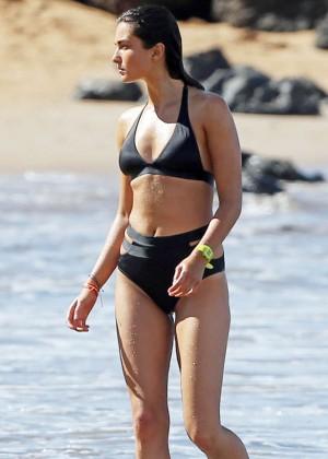 Andreea Diaconu in Black Bikini on the Beach in Maui