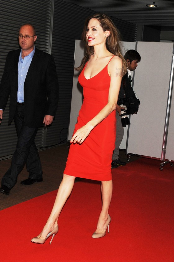 Angelina Jolie – Red Dress Candids at Moneyball Premiere in Tokyo-05