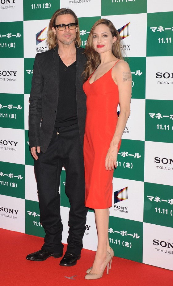 Angelina Jolie – Red Dress Candids at Moneyball Premiere in Tokyo-11