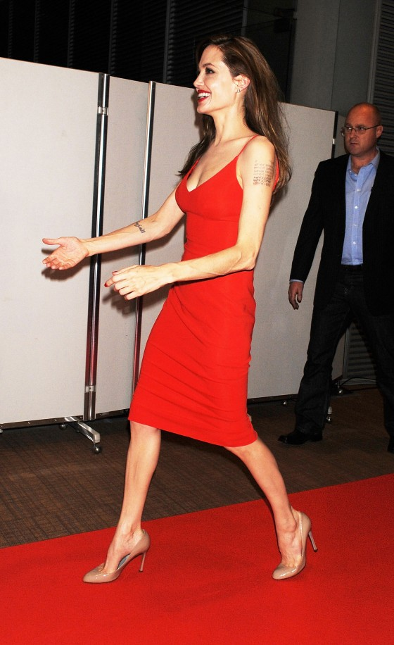 Angelina Jolie – Red Dress Candids at Moneyball Premiere in Tokyo-12