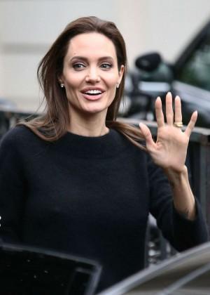 """Angelina Jolie - Leaves """"Vivement Dimanche"""" TV Show in Paris"""