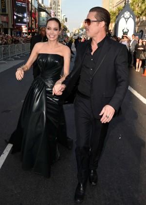 Angelina Jolie in black shiny dress -03