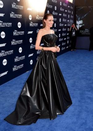 Angelina Jolie in black shiny dress -04