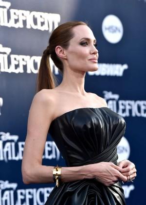 Angelina Jolie in black shiny dress -06