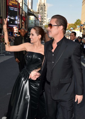 Angelina Jolie in black shiny dress -07