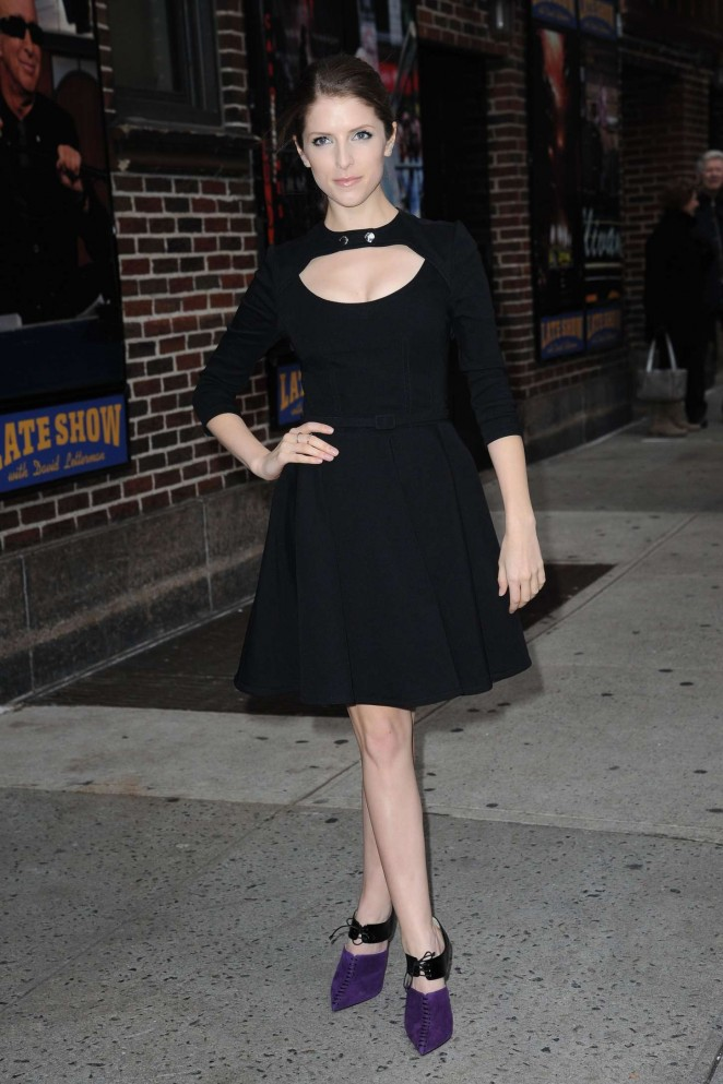 Anna Kendrick in Black Dress at The Late Show with David Letterman in NY