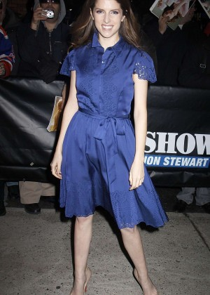 Anna Kendrick in Blue Dress at The Daily Show in NY