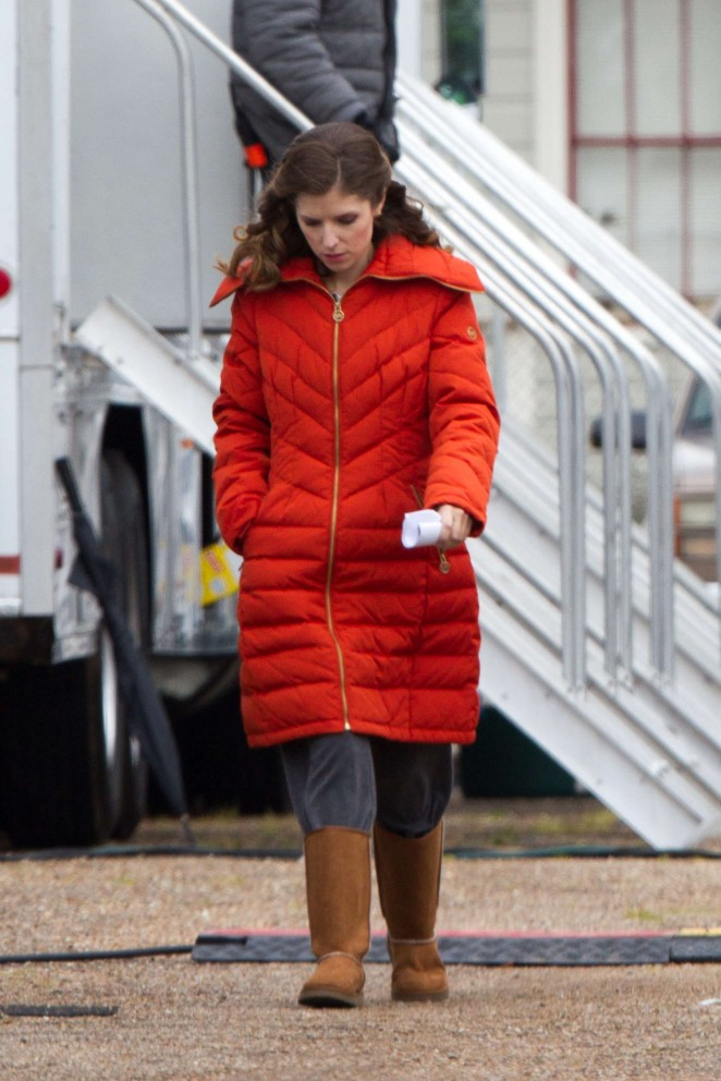 Anna Kendrick in Orange Coat out in New Orleans