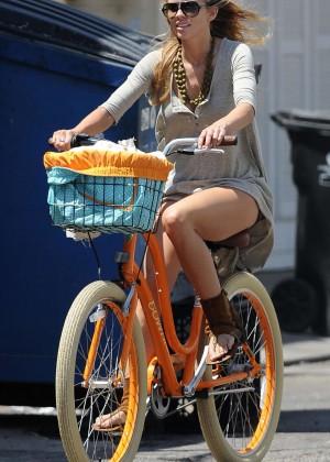 AnnaLynne McCord - Bike Riding in a Dress in Venice