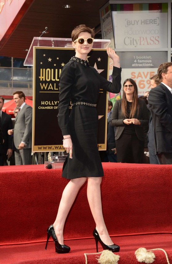 Anne Hathaway in tight dress at Hugh Jackman Hollywood Walk of Fame ceremony
