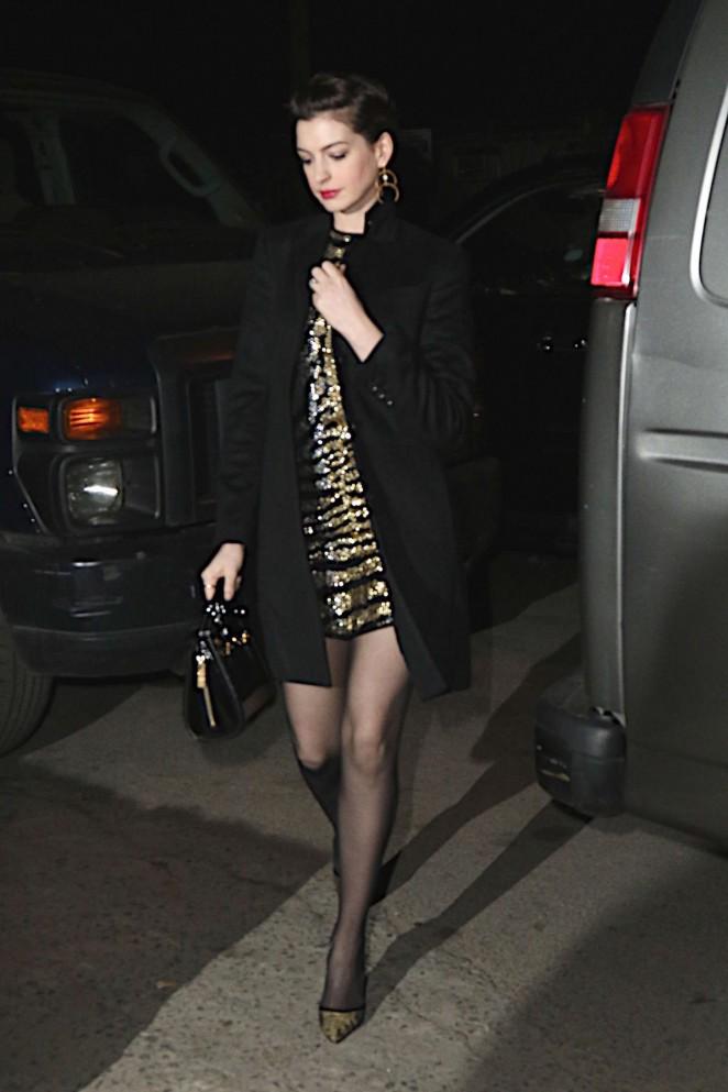 Anne Hathaway in Short Dress - Attending friends wedding in Brooklyn