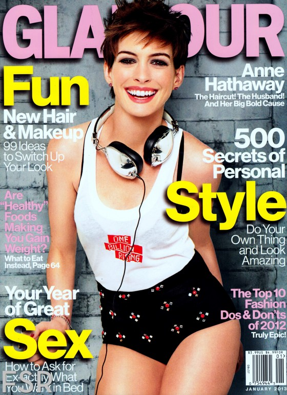 Anne Hathaway in Glamour USA Magazine January 2013