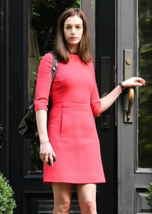Anne Hathaway in red mini dress filming 'The Intern' in New York City