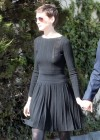 Anne Hathaway showing legs in short dress out in LA