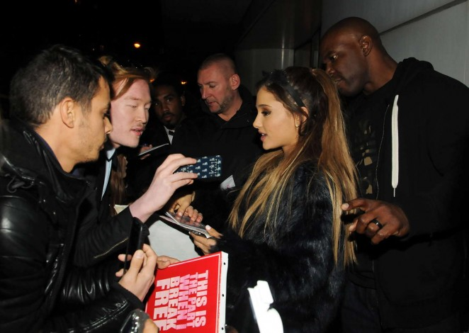 Ariana Grande in Black Mini Skirt at NRJ Radio Studios -05