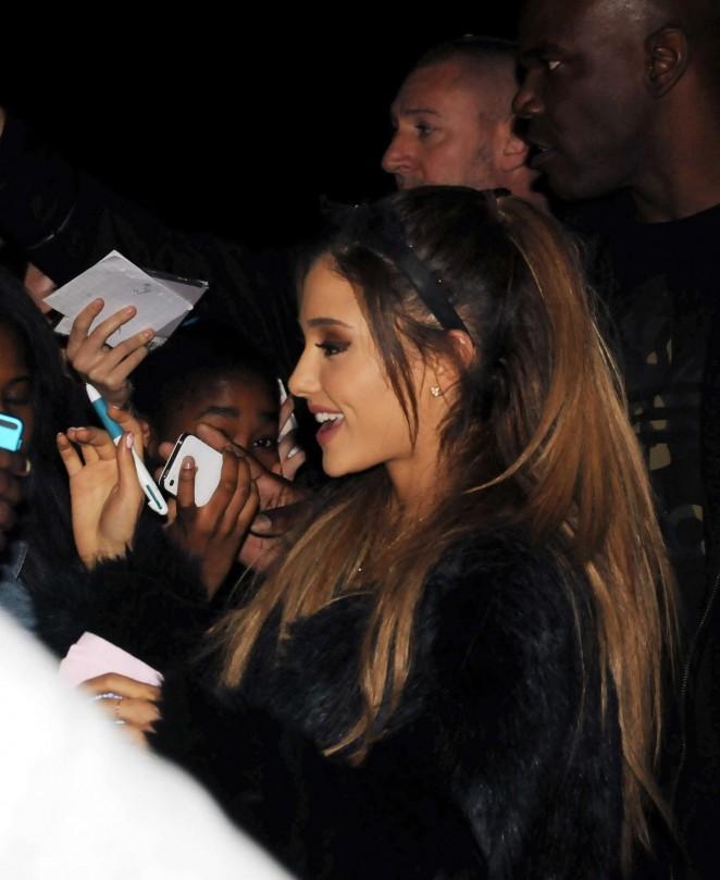 Ariana Grande in Black Mini Skirt at NRJ Radio Studios -22