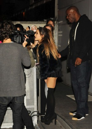 Ariana Grande in Black Mini Skirt Leaving NRJ Radio Studios in Paris