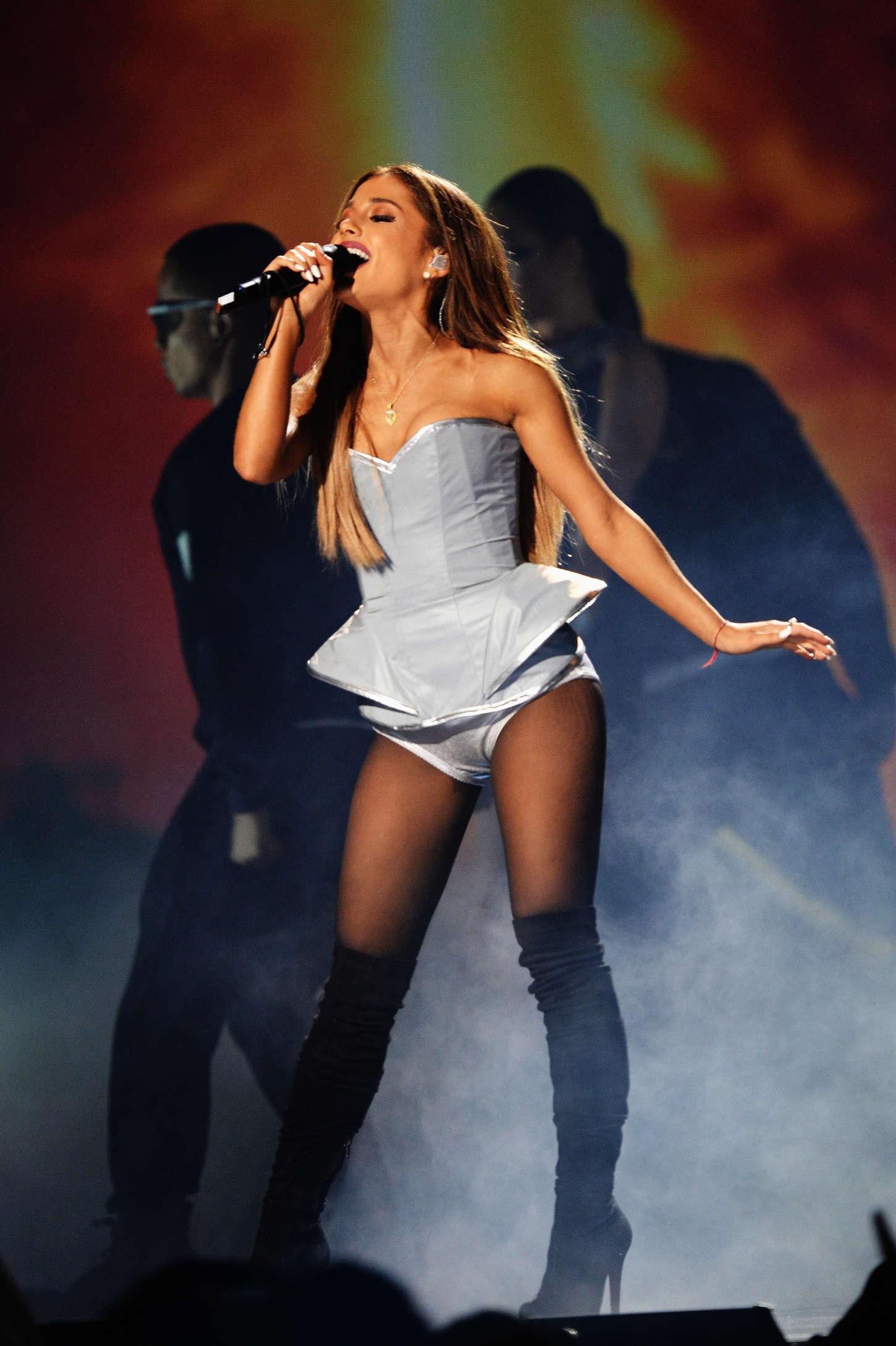Ariana Grande in Silver Bodysuit at MTV EMA 2014 -22