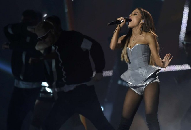 Ariana Grande in Silver Bodysuit at MTV EMA 2014 -21