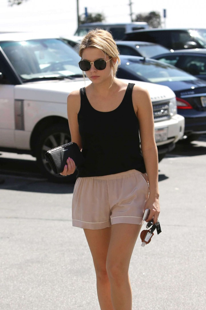 Ashley Benson in tank top and shorts -03