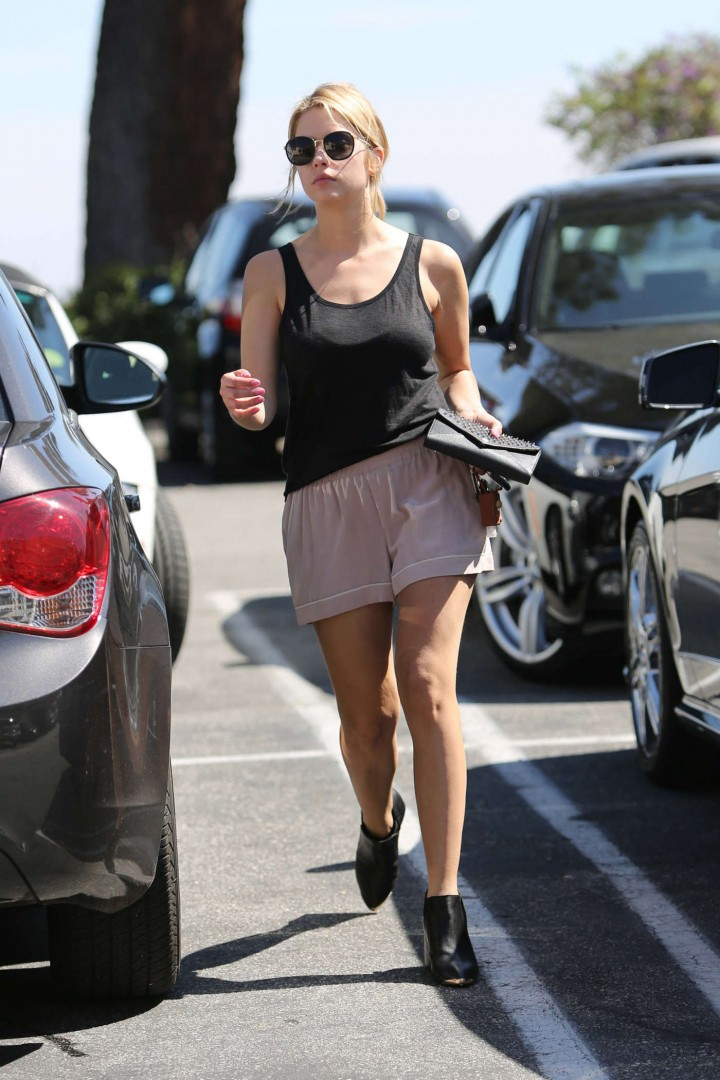 Ashley Benson in tank top and shorts -05