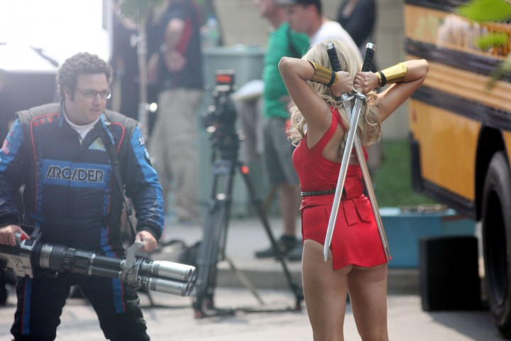 Ashley Benson – In that red outfit on the set of Pixels in Toronto-02