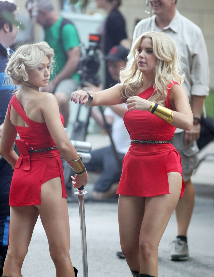 Ashley Benson – In that red outfit on the set of Pixels in Toronto-20