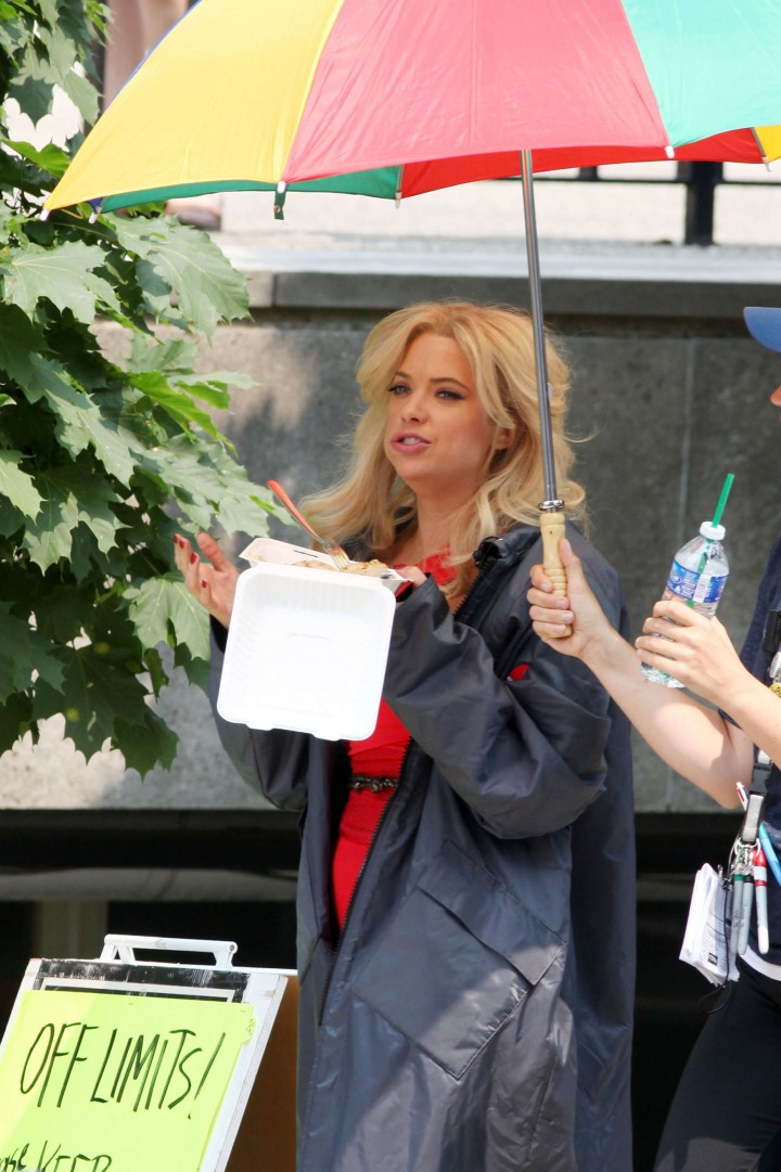 Ashley Benson – In that red outfit on the set of Pixels in Toronto-29