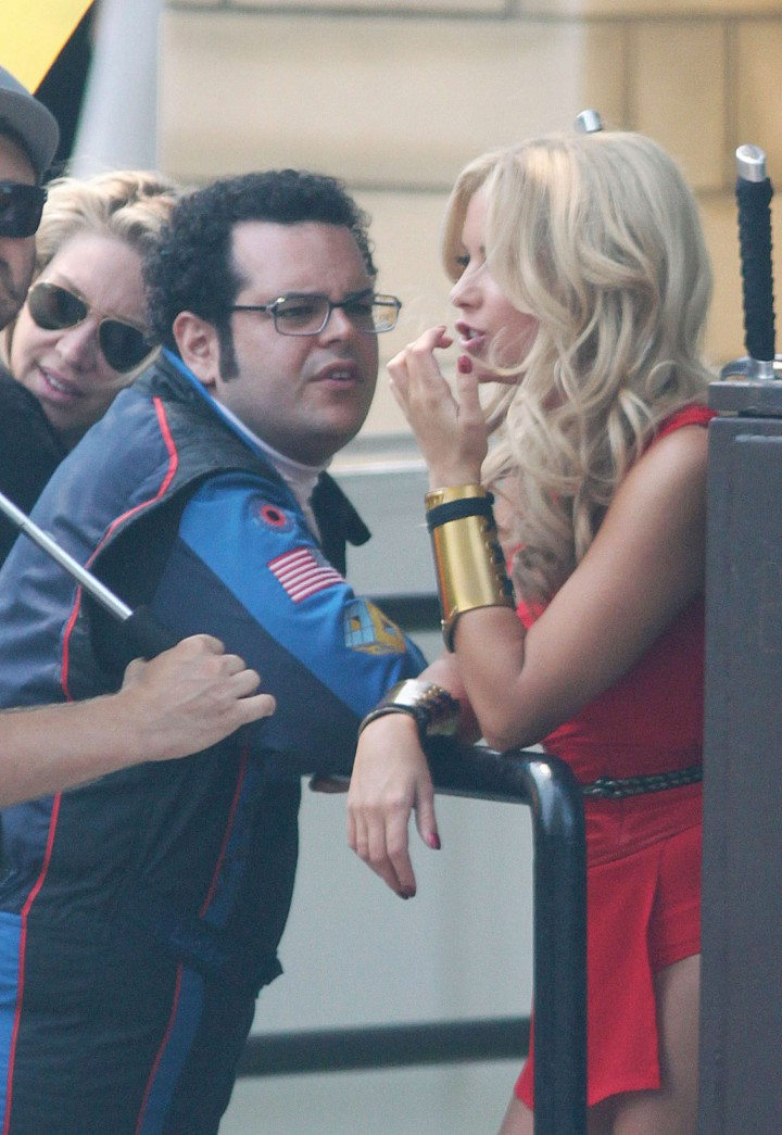 Ashley Benson – In that red outfit on the set of Pixels in Toronto-40