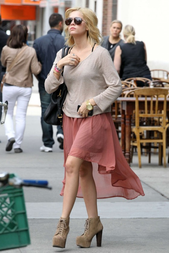 Ashley Benson Showin legs in a skirt Leaving The Bowery Hotel in NY