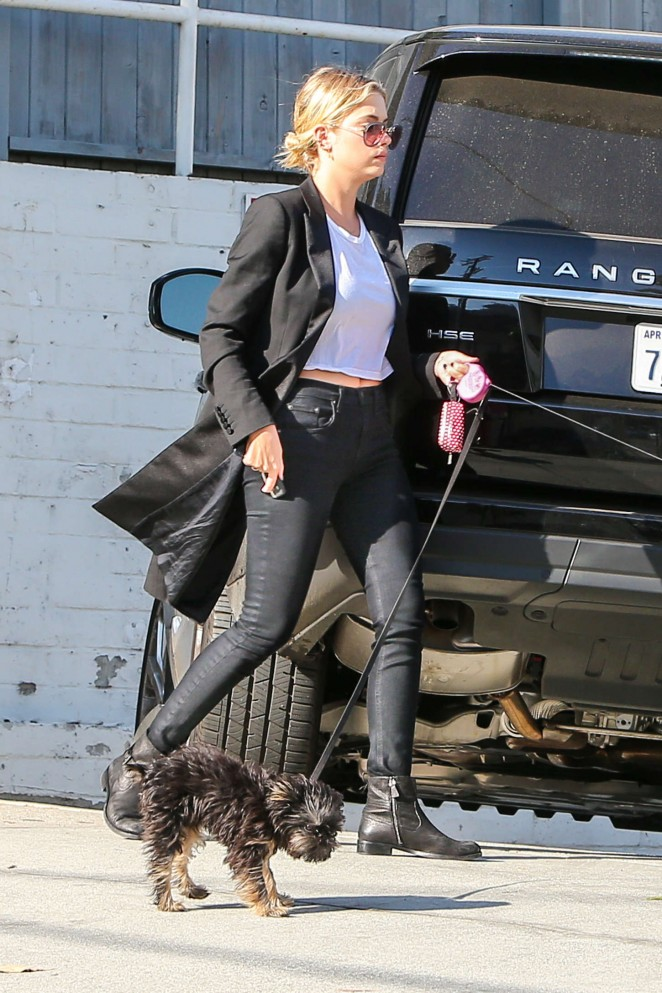 Ashley Benson in Tight Pants walking her dog in Hollywood