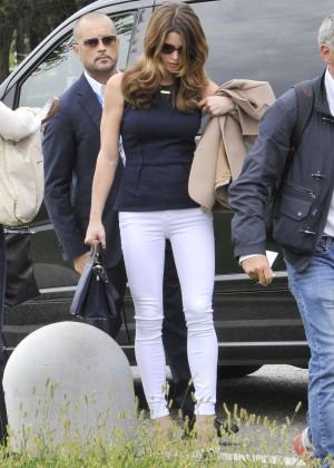 Ashley Greene in White Pants arrives in Venice