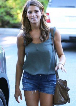Ashley Greene in Jeans Shorts at Bristol Farms in Beverly Hills