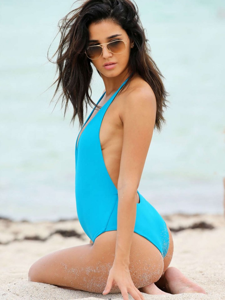 Ashley Sky Blue Swimsuit Candids in Miami
