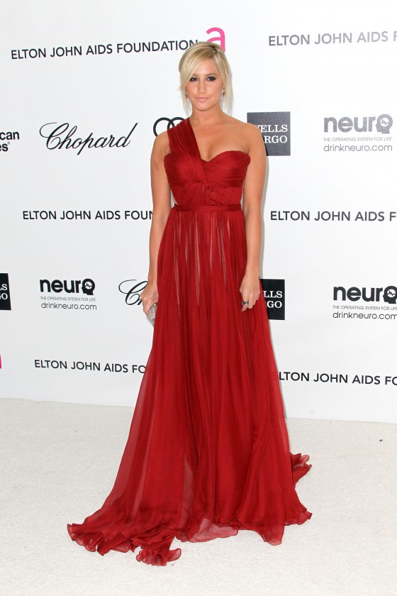 Ashley Tisdale cleavage in red dress at 20th Elton John Academy Awards Party-02