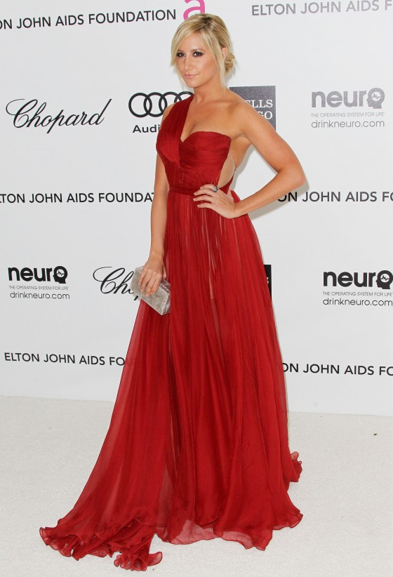 Ashley Tisdale cleavage in red dress at 20th Elton John Academy Awards Party-03